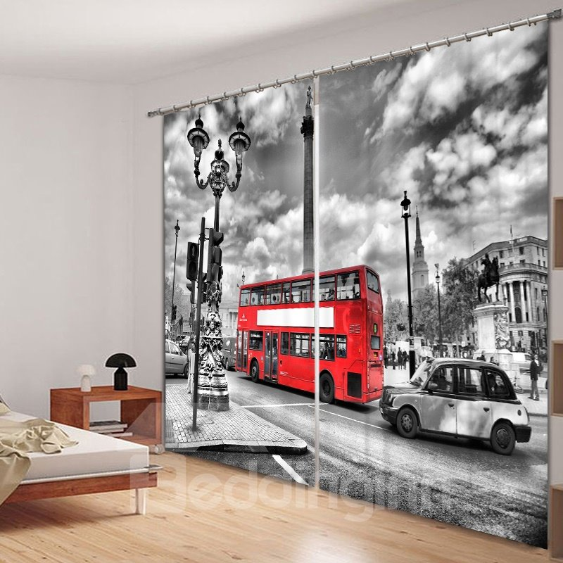 Retro and British Style Red Bus and Buildings 3D Printed Polyester Living Room Decorative Curtain