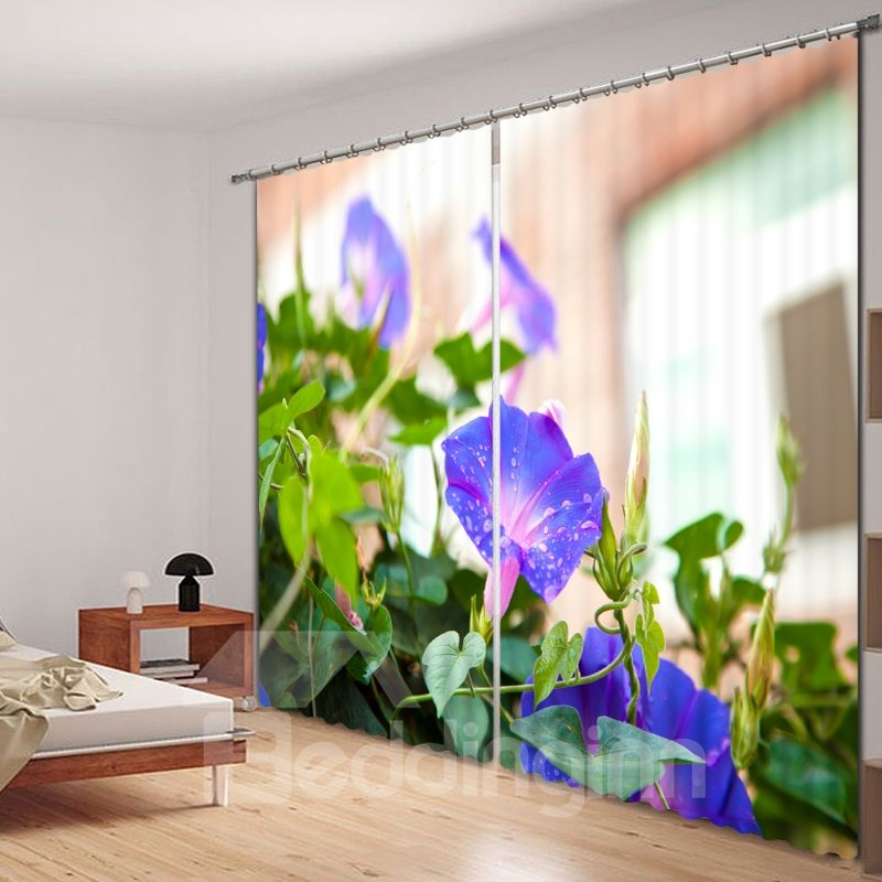 Purple Morning Glory 3D Printed Polyester Curtain