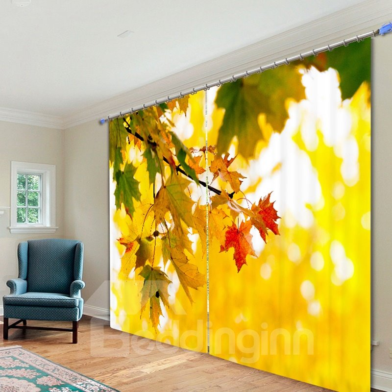 Attractive Leaf of Maple Tree 3D Printing Polyester Curtain