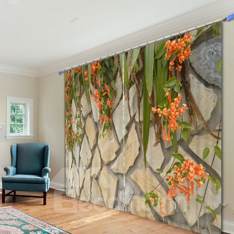 Stone Wall Flowers Artistic Living Room 3d Curtain Pic
