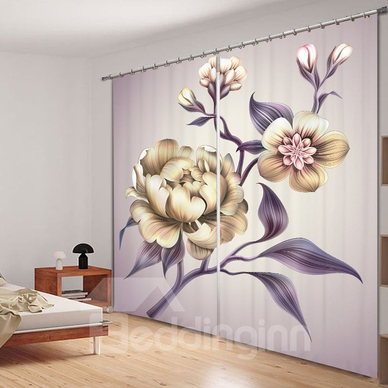Hand Painted Peony 3D Printing Polyester Curtain