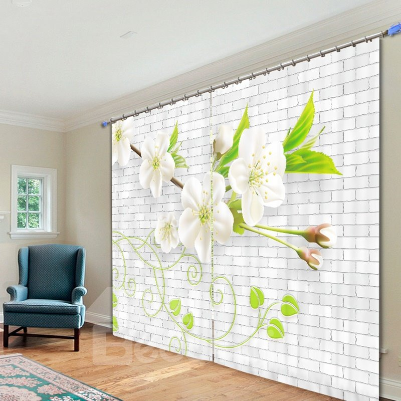 Delicate White Flower 3D Printing Polyester Curtain