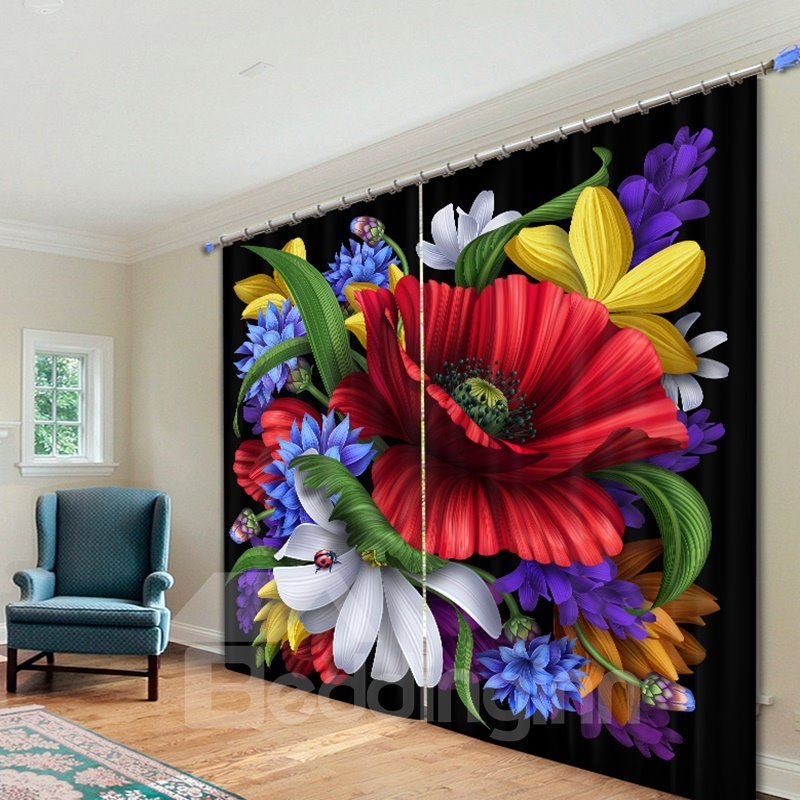 Fantastic Colored Flowers Printed Custom Living Room Polyester Curtain