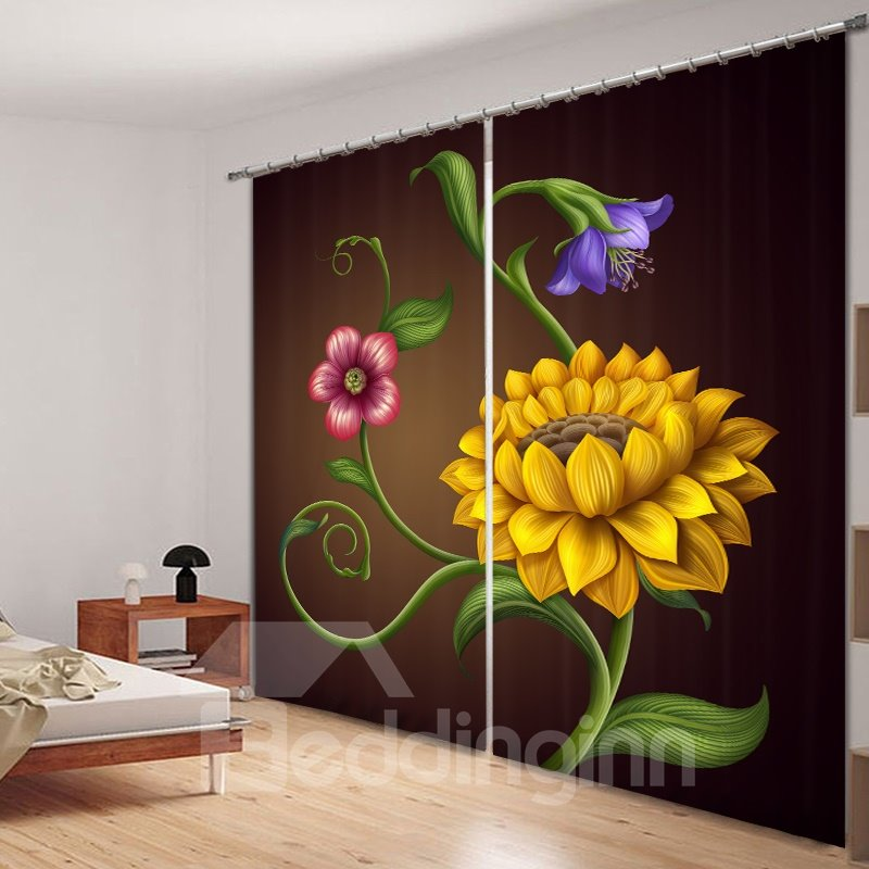Designer Yellow Flowers 3D Printing Polyester Curtain