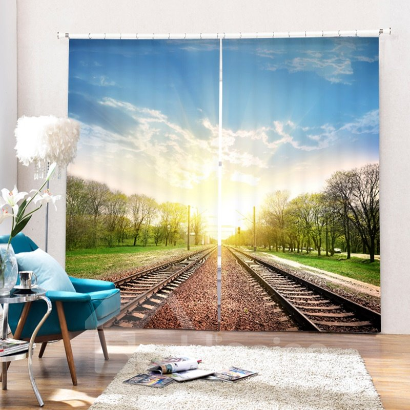 Peaceful Railway Track in the Sunny Day 3D Printing Polyester Curtain