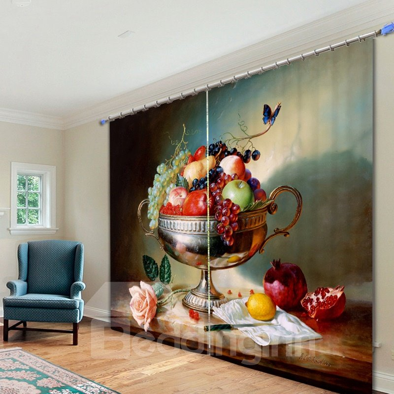 Oil Painting Fruit Dish 3D Printing Polyester Curtain