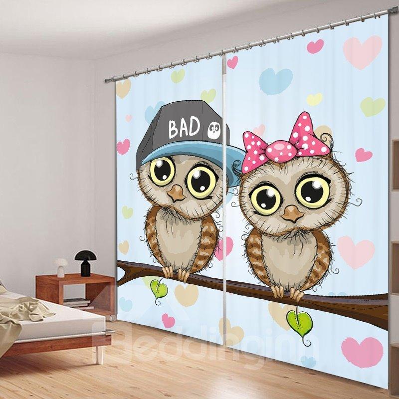 Cute Cartoon Owls Lover 3D Printing Polyester Curtain