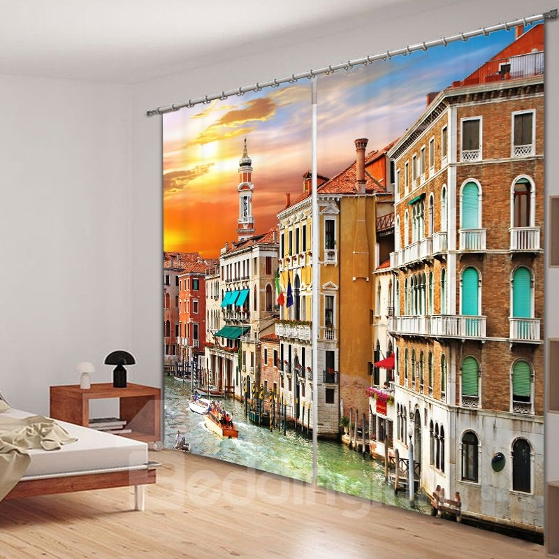 Picturesque Colored Venice 3D Printed Polyester Curtain