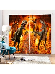 Couple Ferocious Dinosaurs 3D Printed Polyester Curtain