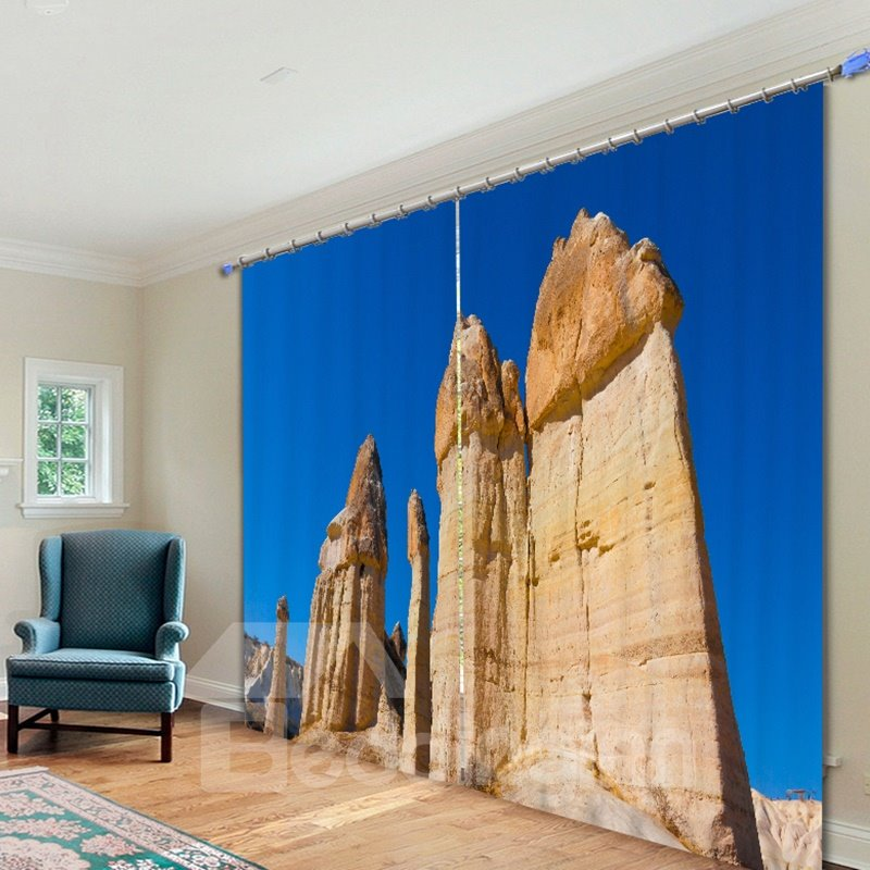 Blue Sky and Rock with Wind Erosion 3D Printed Polyester Curtain
