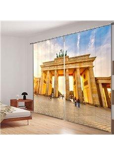 Famous Brandenburg Gate 3D Printed Polyester Curtain