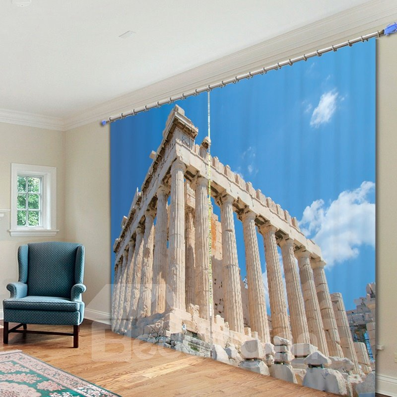 Famous Acropolis in a Sunny Day 3D Printed Polyester Curtain