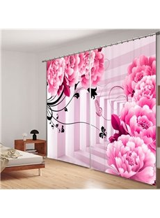 Cute Pink Peony and Butterfly 3D Printing Polyester Curtain