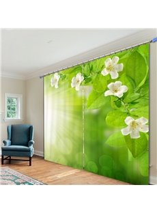 White Flower and Green Leaves in the Sunshine 3D Printing Curtain