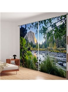 Beautiful Natural Landscape 3D Printed Polyester Curtain