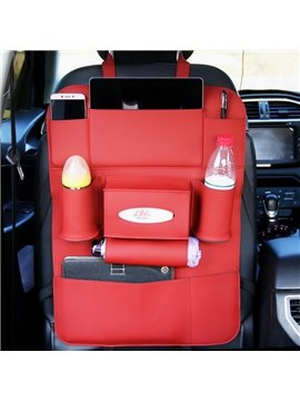 Luxury Simple Rubbing Genuine Leather Car Organizer