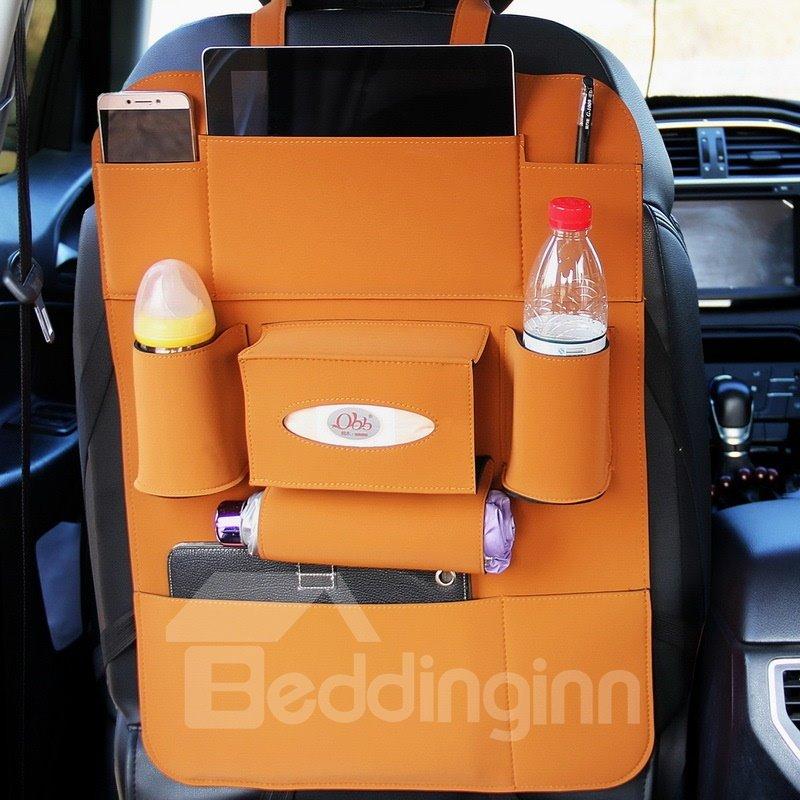 Luxury Simple Rubbing Genuine Leather Car Organizer