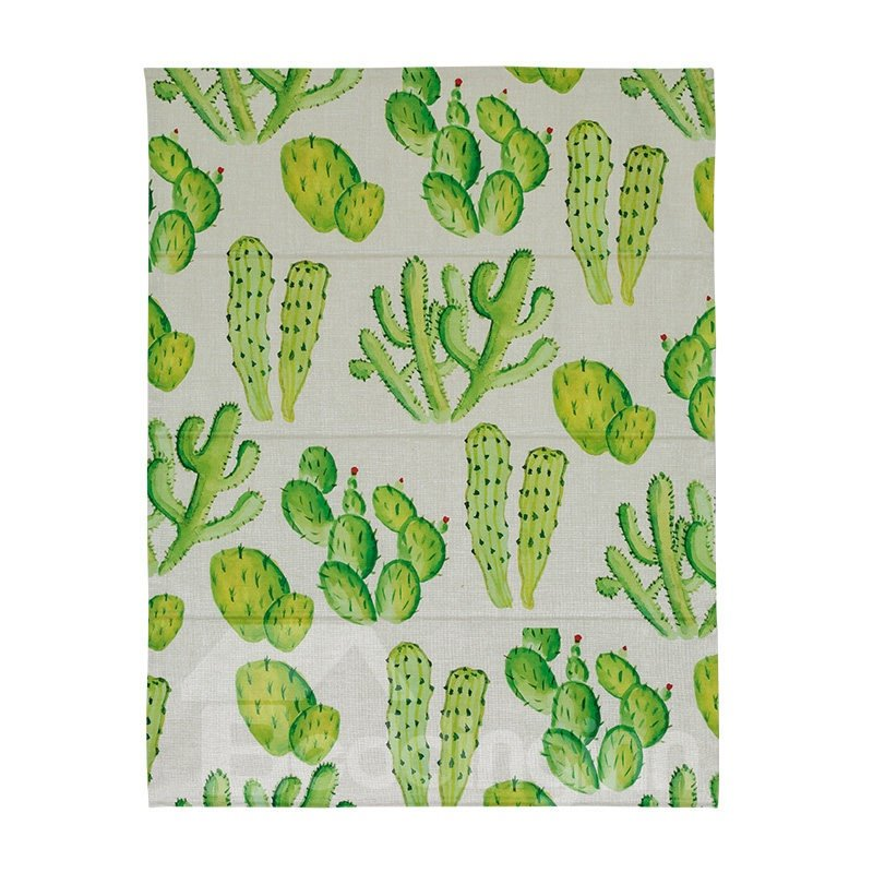 Cactus Printing Cotton and Linen Blending Roman Shades