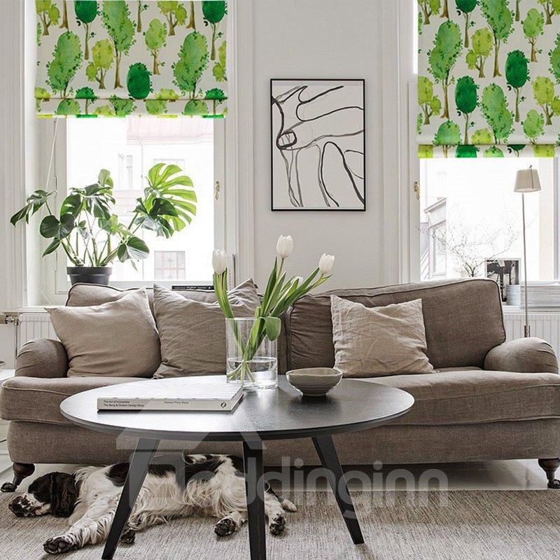 Green Tree Printing Cotton and Linen Blending Roman Shades