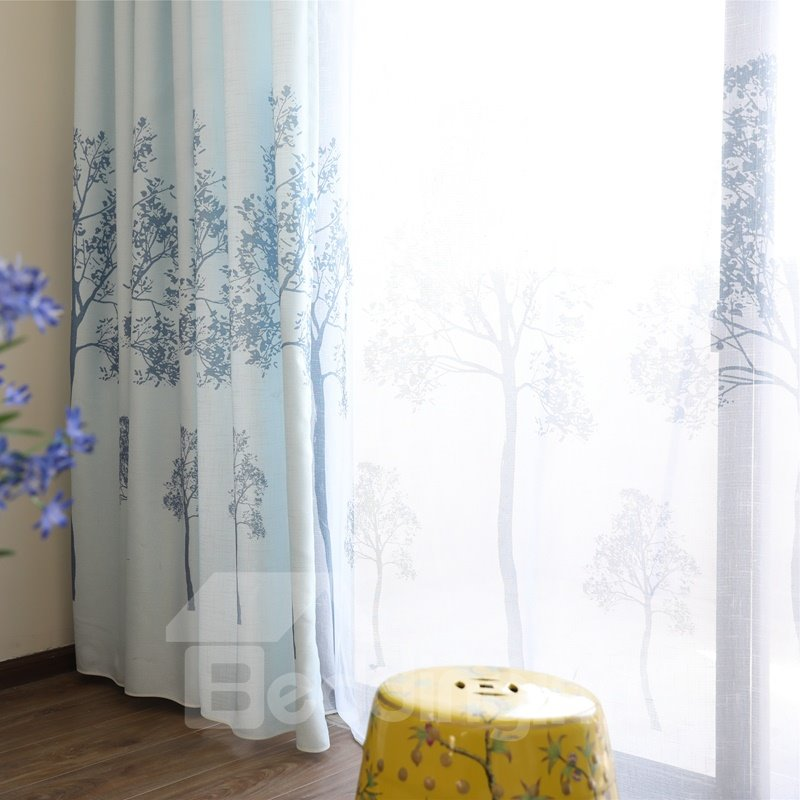Concise Purple Tree Printing Lining and Sheer Custom Curtain Sets