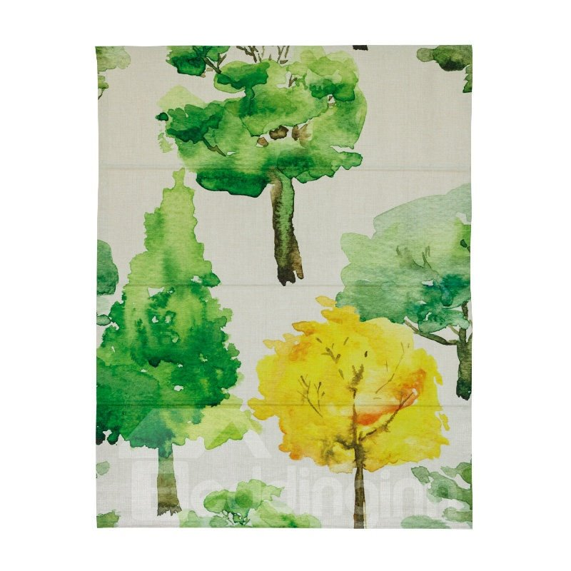 Watercolor Tree Printing Cotton and Linen Blending Roman Shades