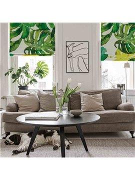 Watercolor Banana Leaves Printing Cotton and Linen Blending Roman Shades