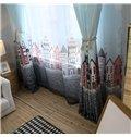 Cute Flag and Castle Printing Custom Curtain