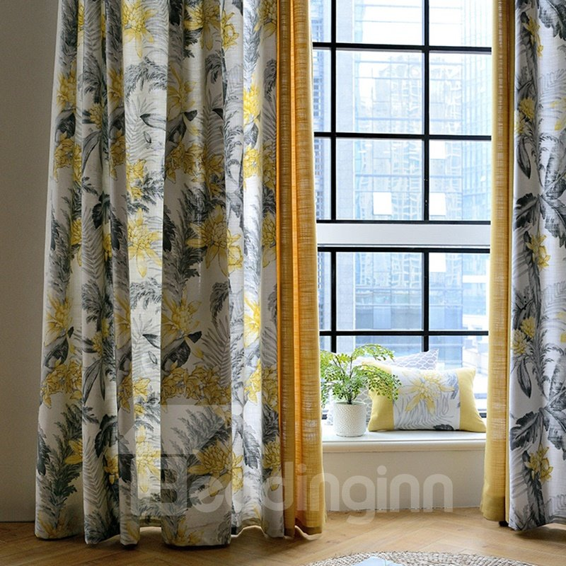 Ink Flower Printing Stitching Cloth Custom Curtain