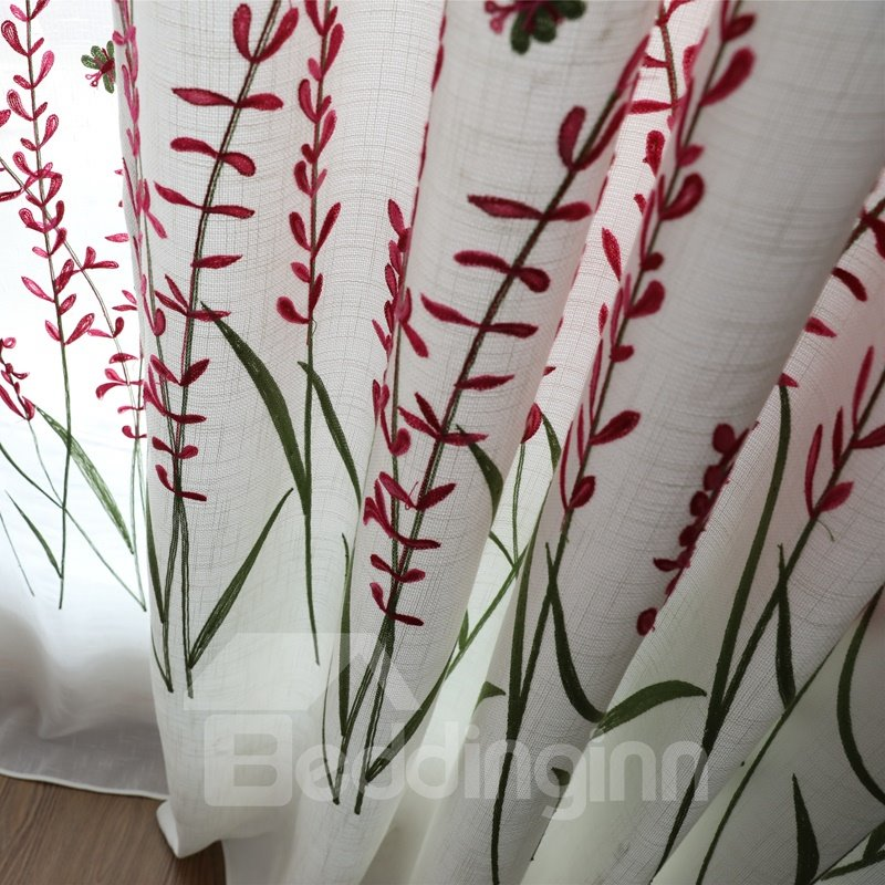 Concise Red Flower Embroidery Lining & Sheer Custom Curtain Sets