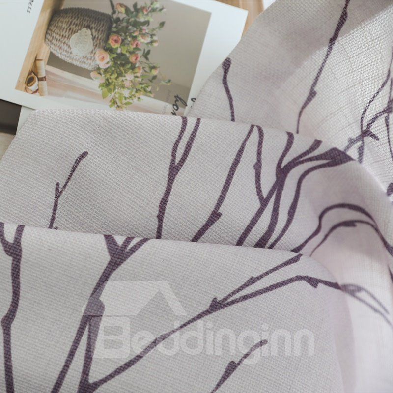 Designer Tree Pattern Linen Grommet Top Custom Curtain