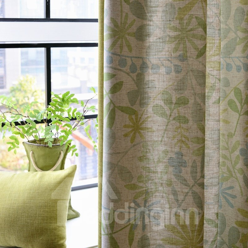Contemporary Floral Printing Stitching Cloth Custom Curtain