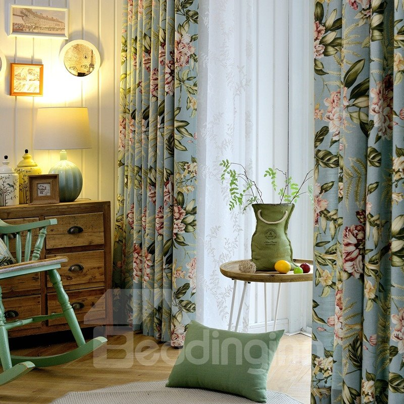 Country Style Floral Printing Cotton and Linen Blending Curtain