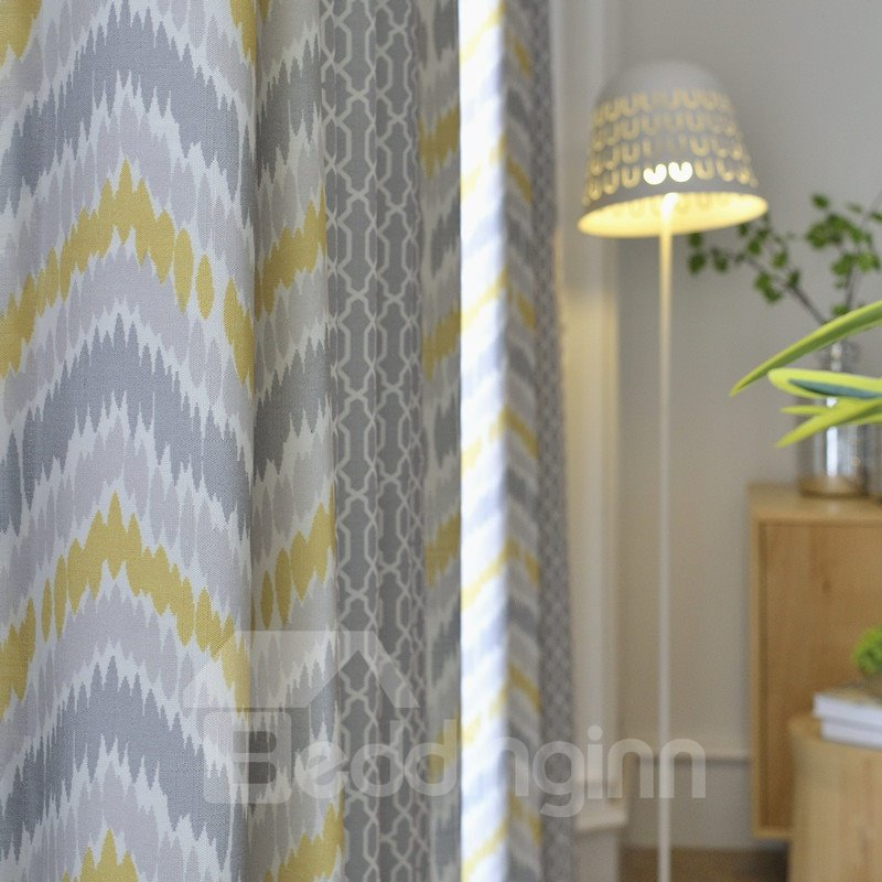 Designer Geometric Pattern Stitching Cloth Custom Curtain