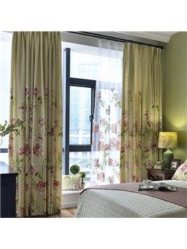 Country Style Beautiful Peony Printing Custom Curtain