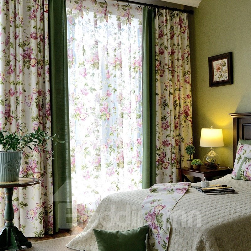 Country Style Pink Peony Printing Stitching Cloth Custom Curtain