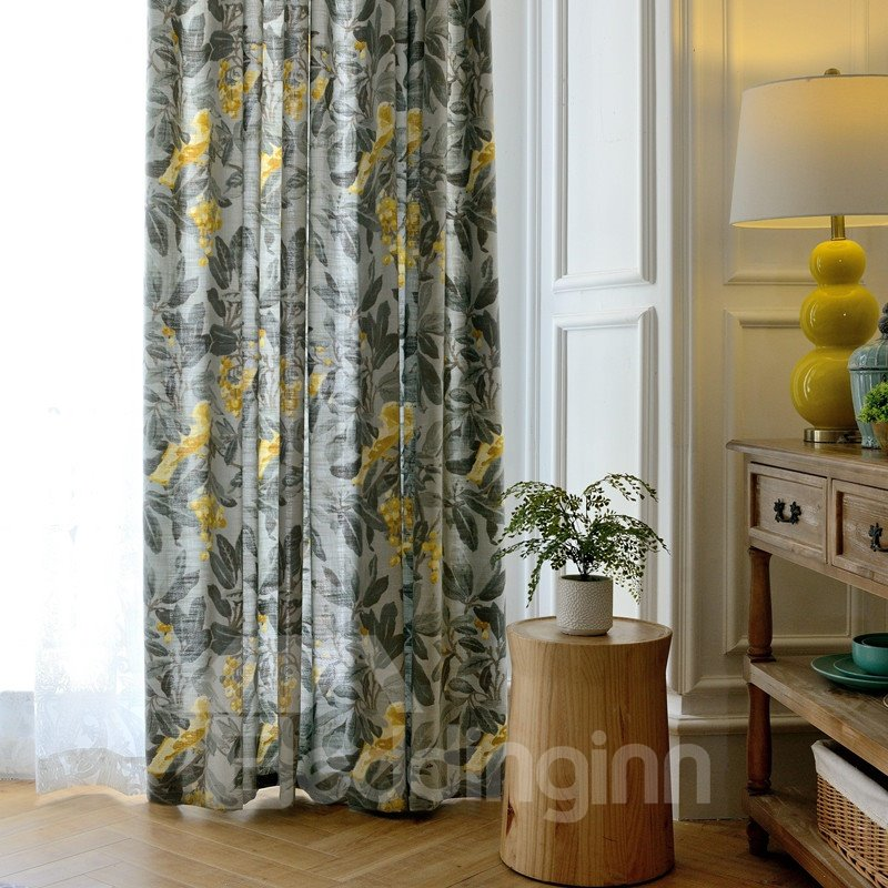 Country Style Yellow Bird and Flower Printing Custom Curtain