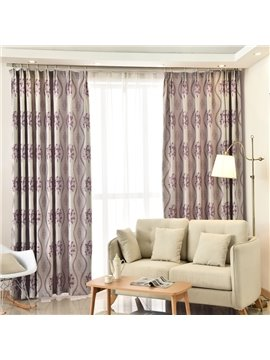 Luxury Purple Leaves Pattern Blackout Custom Curtain
