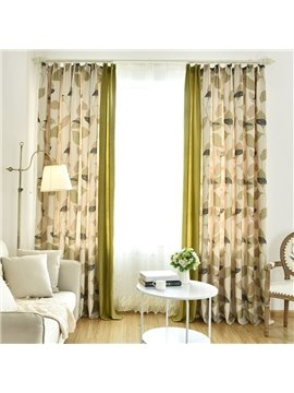 Country Style Double-Sided Printing Green Leaves Pattern Stitching Cloth Custom Curtain