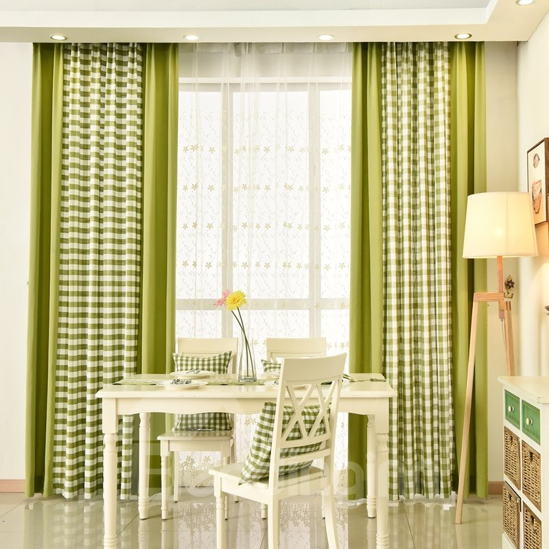 Country Style Plaid Pattern Stitching Cloth Custom Curtain