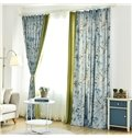 Country Style Double-Sided Printing Blue Leaves Pattern Stitching Cloth Custom Curtain
