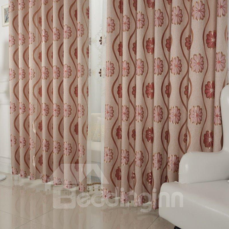 Red Floral Printing Blackout Custom Grommet Top Curtain