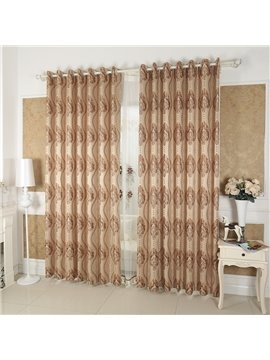 Coffee Damask Pattern Custom Grommet Top Curtain