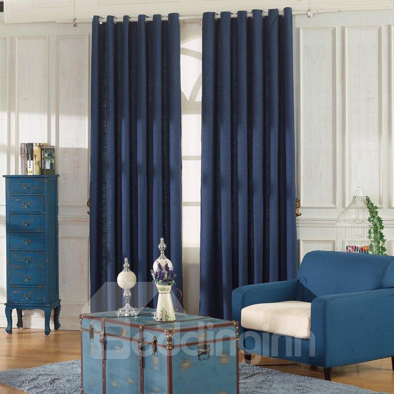 Concise Dark Blue Linen Ventilate Custom Grommet Top Curtain