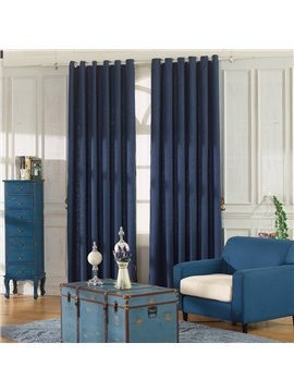 Concise Dark Blue Linen Ventilate Custom Grommet Top Curtain
