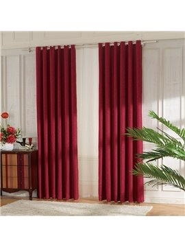 Concise Red Linen Ventilate Custom Grommet Top Curtain