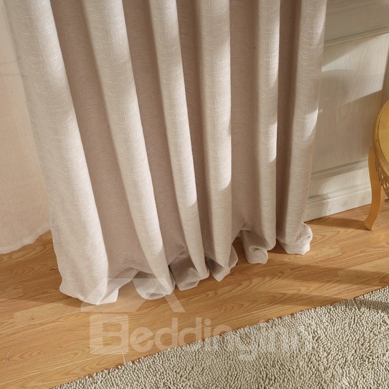Concise Beige Linen Ventilate Custom Grommet Top Curtain