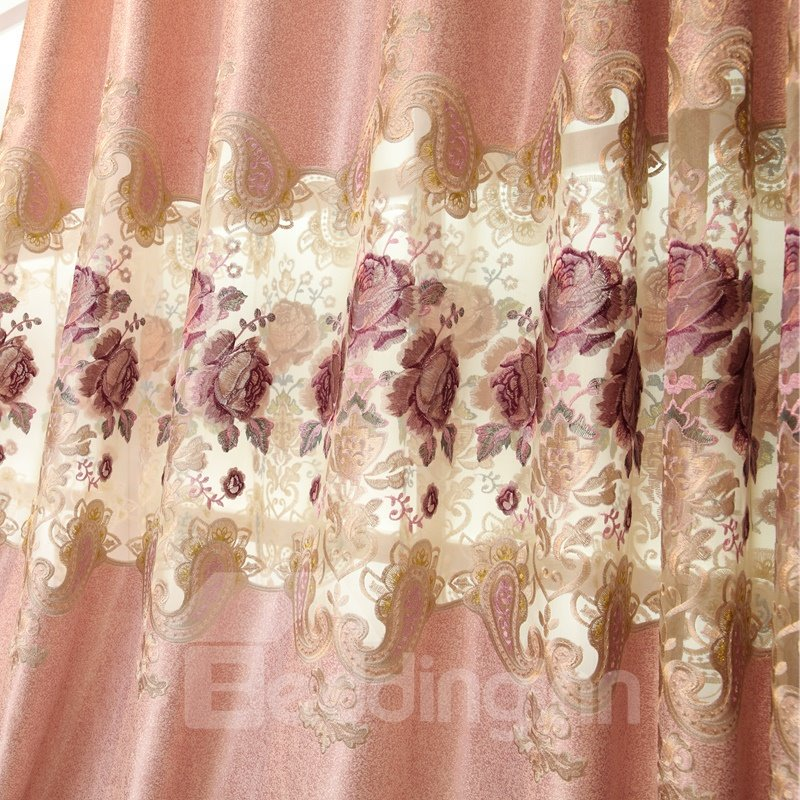 Luxury Pink Hollow Embroidered Custom Grommet Top Curtain