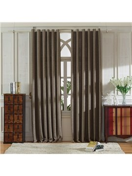 Concise Grey Linen Ventilate Custom Grommet Top Curtain