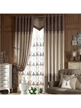 Concise Linen Stitching Custom Grommet Top Curtain