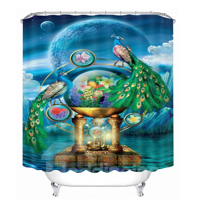 3D Peacock Couple and the Earth Printed Polyester Blue Shower Curtain